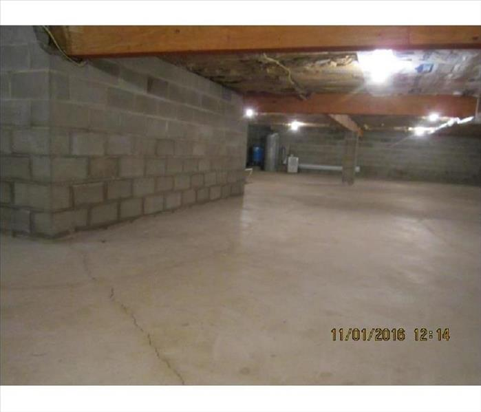 Clean concrete basement
